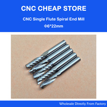"""5pcs 6mm 1/4"""" High Quality Carbide CNC Router Bits One Single Flute End Mill Tools 22mm"""