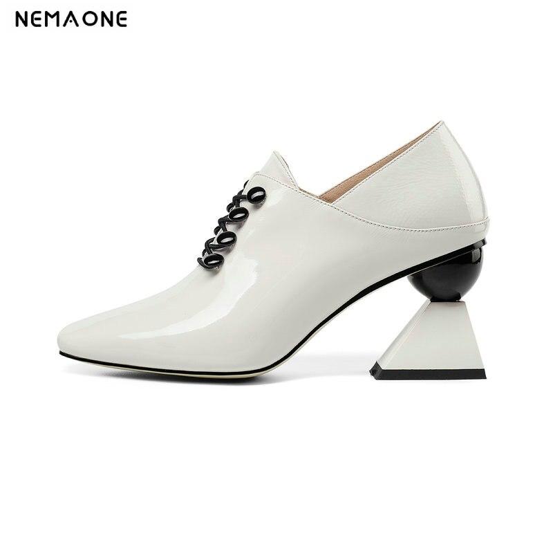 NEMAONE 2019 nowe oryginalne skórzane sznurowane kobiety pompy klasyczne wiosna jesień dziwne wysokie obcasy damskie buty duży rozmiar 43 w Buty damskie na słupku od Buty na  Grupa 1