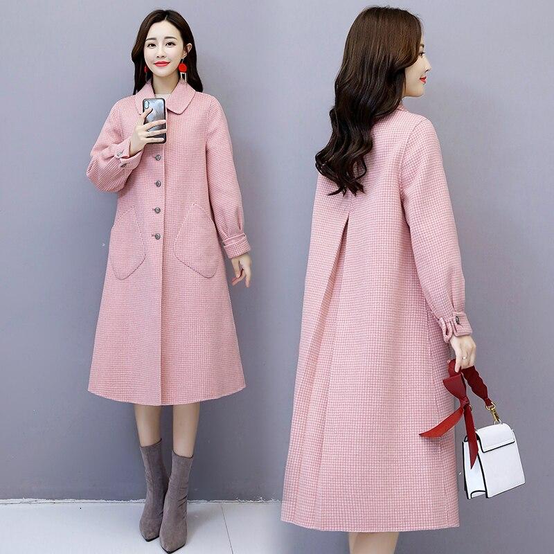 Kmetram Rose 2019 Manteaux Chaqueta Veste My2667 Laine red Femme Coréenne Femmes Printemps Mujer black De Vestes pink Longue Et Beige Réel Manteau Femelle 3RL4Aj5