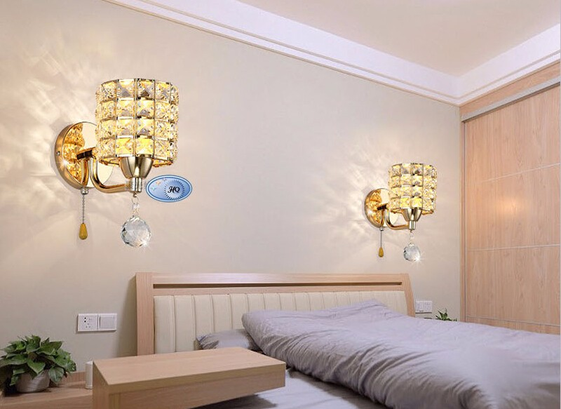 lâmpada parede cristal moderno zíper base aço