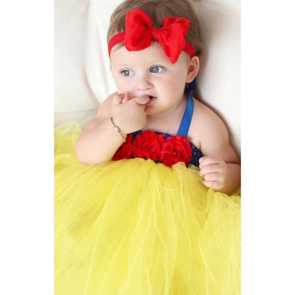 6d3e5cc213dc ... Beautiful Snow White Tutu Dress Costume with Red Hair Bow Princess  Infant Toddler Baby Girls Birthday ...