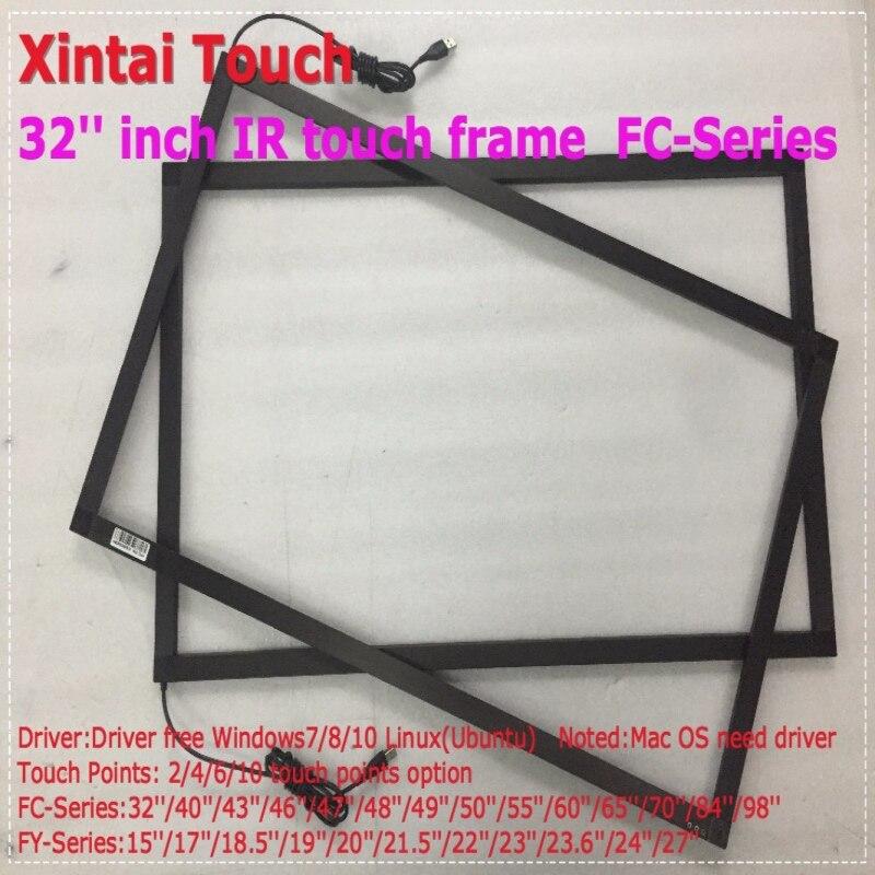 Travail de superposition de cadre d'écran tactile multi d'ir de 32 pouces 6 points avec le panneau d'affichage à cristaux liquides de 32 pouces et le système de soutien XP WIN7/8