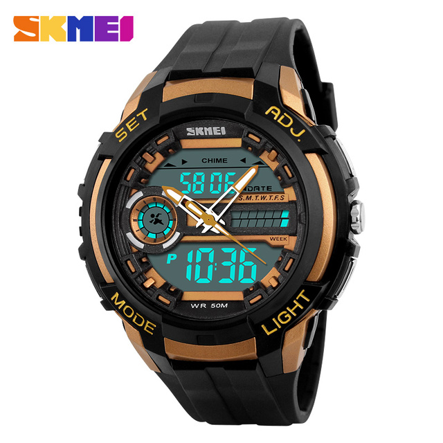 SKMEI Dual Display Wristwatches Men Digital Sports Watches LED Back Light 50M Water Resistant Shock Military Quartz Watch 1202