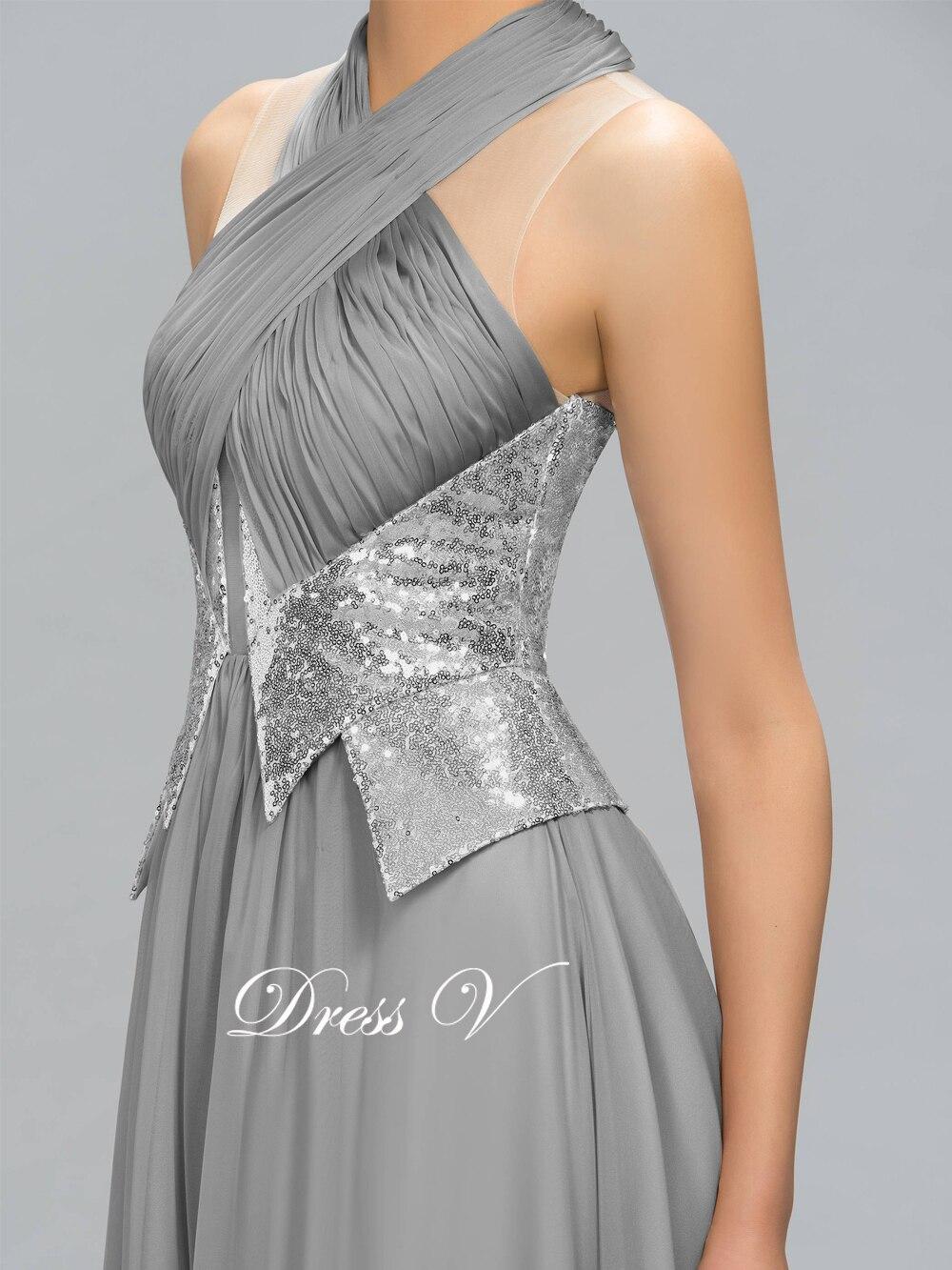 Dressv Hot Sale Långaftonklänning Grå Halter A-Line Pleats - Särskilda tillfällen klänningar - Foto 5