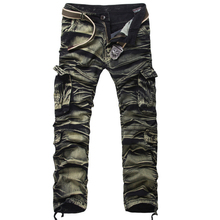New Men's Camouflage multi pocket pants navy trousers overalls male unfastened plus dimension informal pants males