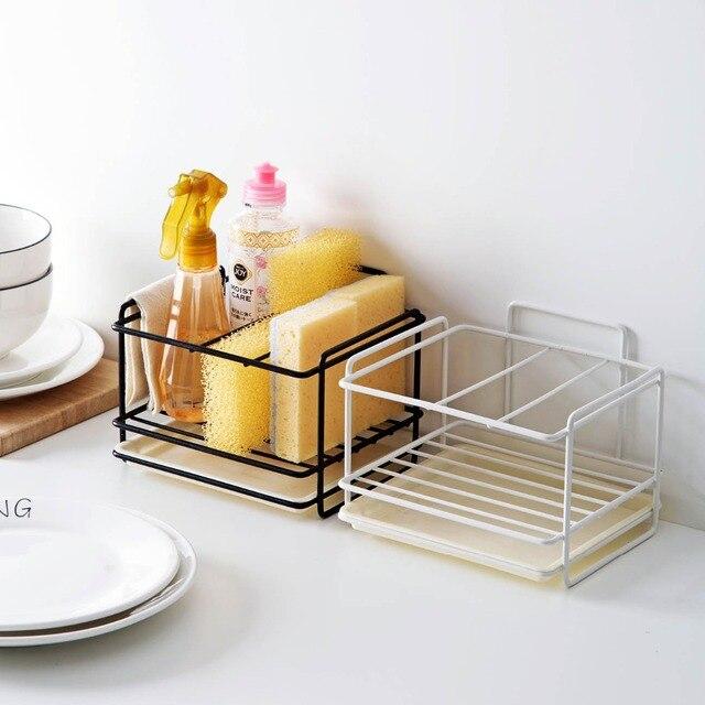 Soporte de esponja OTHERHOUSE para drenaje de jabón, estante de almacenamiento, organizador de fregadero de cocina, soporte de cepillo de trapo, estante de hierro, organizador de baño 1