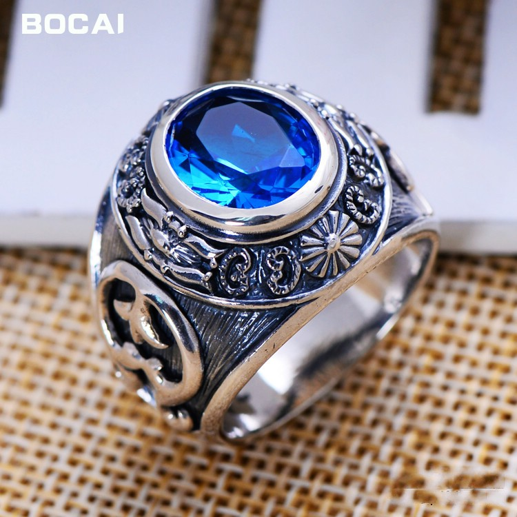 цена на S925 silver jewelry wholesale Vintage Silver Blue crystal ring ring factory direct totem domineering man ring