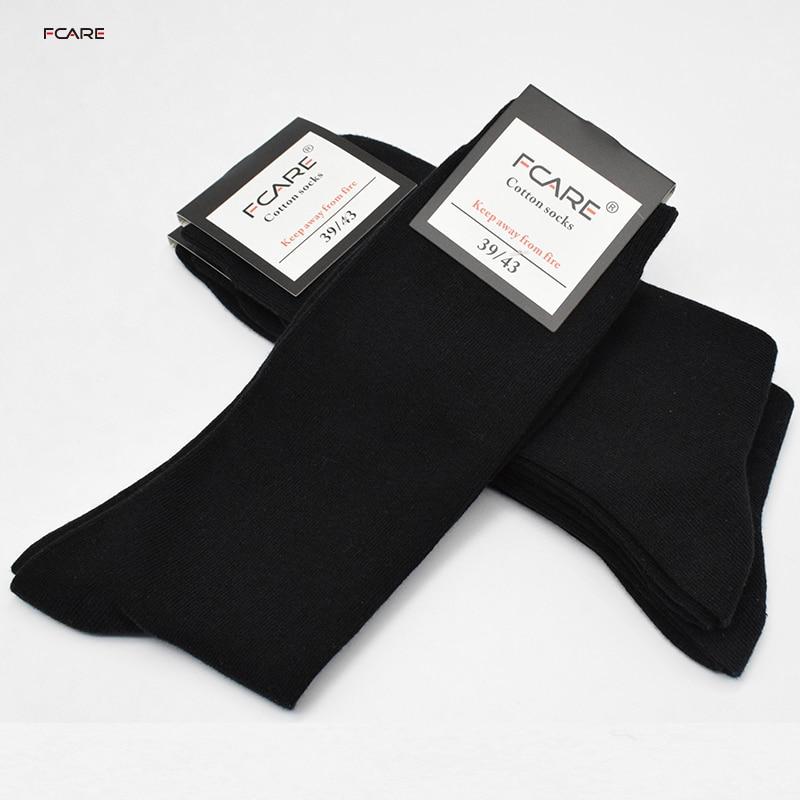Fcare 10 PCS = 5 pares de perna longa preto 40, 41, 42, 43 algodão sokken calcetines hombre meias masculinas meias de negócios