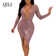 QILI Women Sexy V-Neck Party Dress Sequined Split Asymmetrical Long Sleeve Bodycon Dresses Flash Sequin Elegant Black Pink
