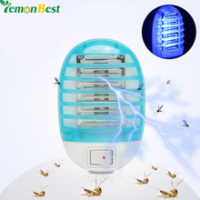 220V EU Plug Electric Mini Mosquito Lamp Killer Blue LED Mosquito Repeller Killing Fly Bug Insect Trap Night Lamp Killer Zapper(China)