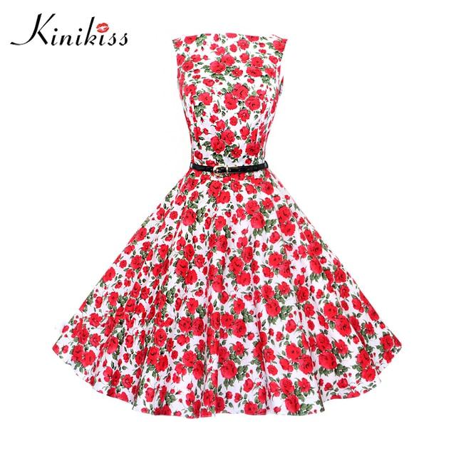 Kinikiss vestido vintage 1950 s impresión floral verano de las ...