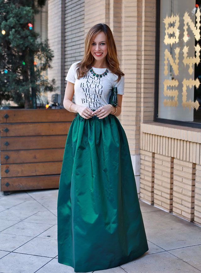 Online Shop Vintage Style Dark Green Saia Longa Skirts A Line ...