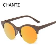 Gafas De Sol Mujer Hombre Vintage gafas de Sol Redondas Mujeres Hombres Marca UV400 Gafas de Sol Lente Reflectante Semi-sin montura Sonnenbrille