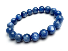10mm AAA Genuine Natural Blue Kyanite Cat Eye Crystal Round Beads Jewelry Women Stretch Bracelet
