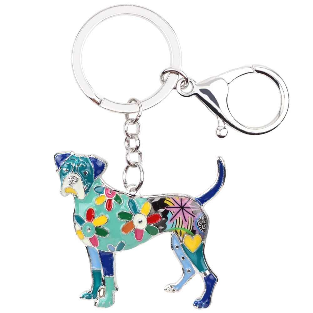 Bonsny esmalte aleación Boxer perro llavero joyería de moda para mujer llavero accesorios de recuerdos bolso encanto