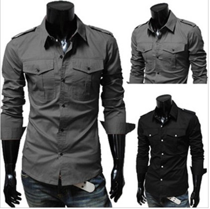 69a58659a14 camisas men blouse trendy overshirt Korean button up pocket men's casual shirt  long-sleeved shirt Euro America clothing 5842