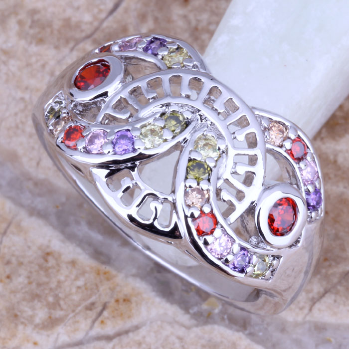 ccee83bd8113 ∞Gallant multicolor multigem plata anillo de mujer tamaño 6 7 8 ...