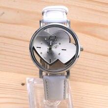 Женские часы в форме сердца,, модные популярные кварцевые часы на каждый день с кожаными ремешками, женские часы с круглым циферблатом