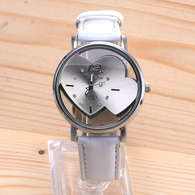 2019 Watches Women Heart Shape Top Selling Fashion Popular Quartz Watch Casual Leather Straps Female Girl Lady Round Dial Hours