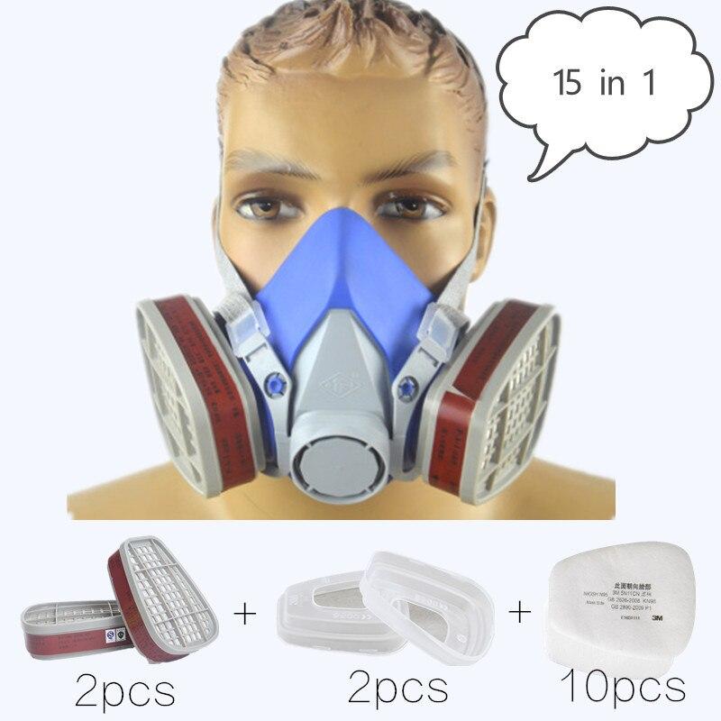 15 En 1 Industrial Máscara De Gas Respirador Máscara De Silicona 6001 Filtro De Carbono Lo Mismo Para 3 M 6200 Filtro Electrostático Pintura Plaguicidas Agradable Al Gusto