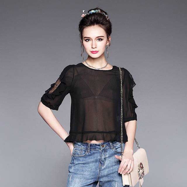 5d420857bd2cad OUYALIN L to 5XL Plus size Women Chiffon Blouse and Tops 2017 New Summer  Designer Sexy See Through Black White Shirt
