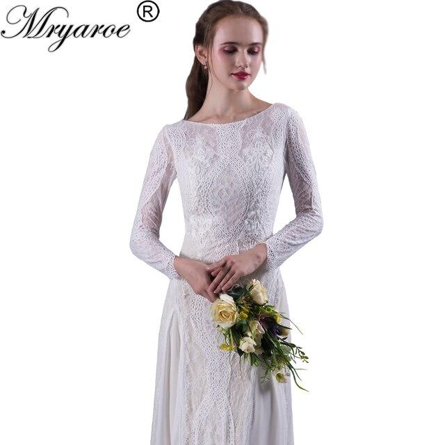 Mryarce Lace Bohemian Wedding Dresses French Long Sleeve Boho Chic Dress Open Back Bridal Gowns