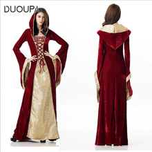 Halloween Hooded European Vintage Court Dresses Luxury Queen Clothing Bar ds Stage Party Womenswear