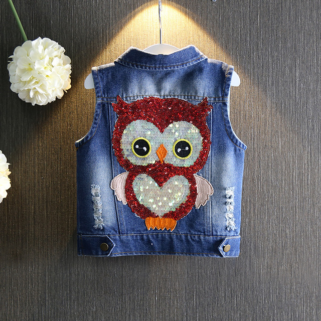 2016 children's spring autumn new fashion kids clothing baby girls cartoon Sequins owl denim vests child waistcoats