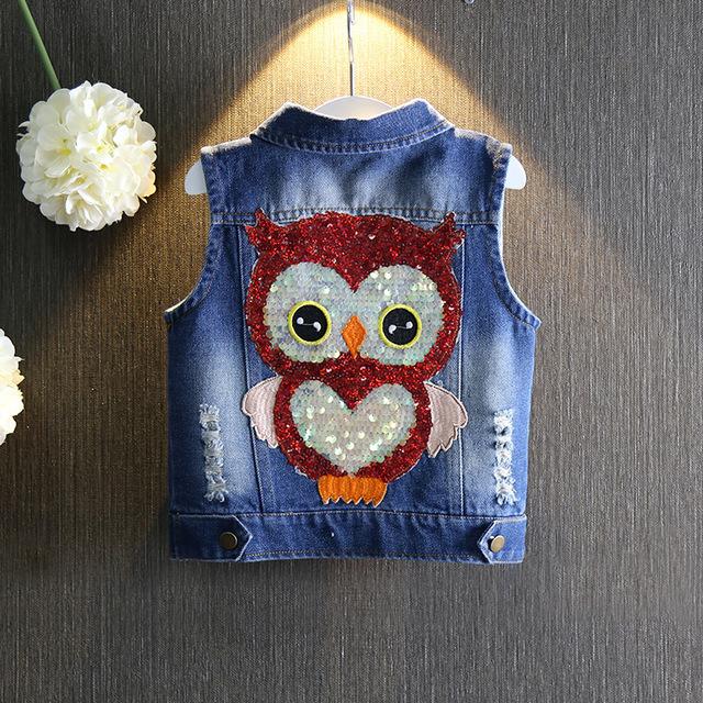 2016 primavera outono nova moda crianças roupas de bebê meninas das crianças dos desenhos animados Lantejoulas coruja denim coletes coletes à prova de criança