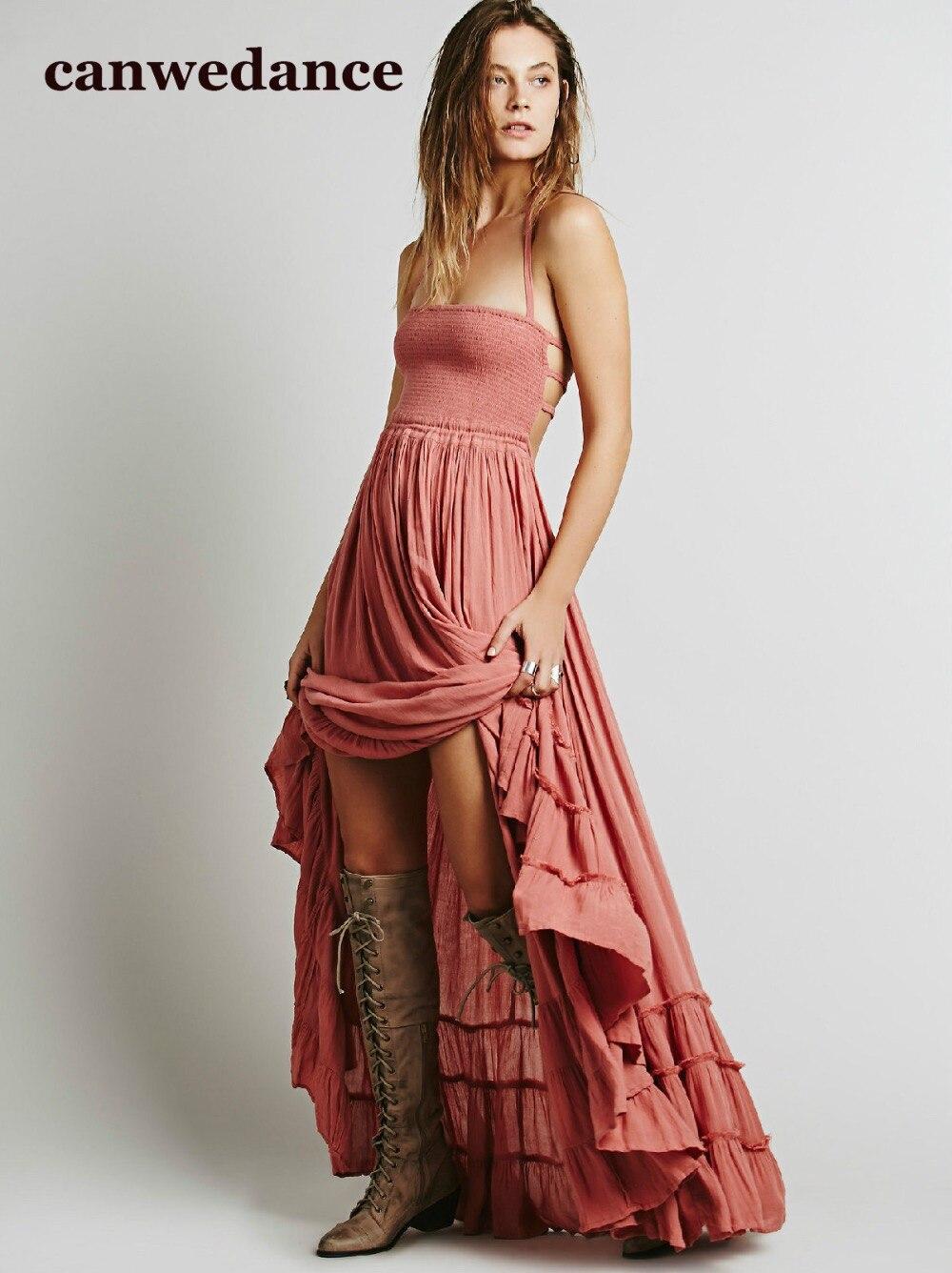 2016 Пляж платье сексуальные платья boho чешские люди Отдыха летом длинные blackless хлопок женщины party hippie chic vestidos mujer