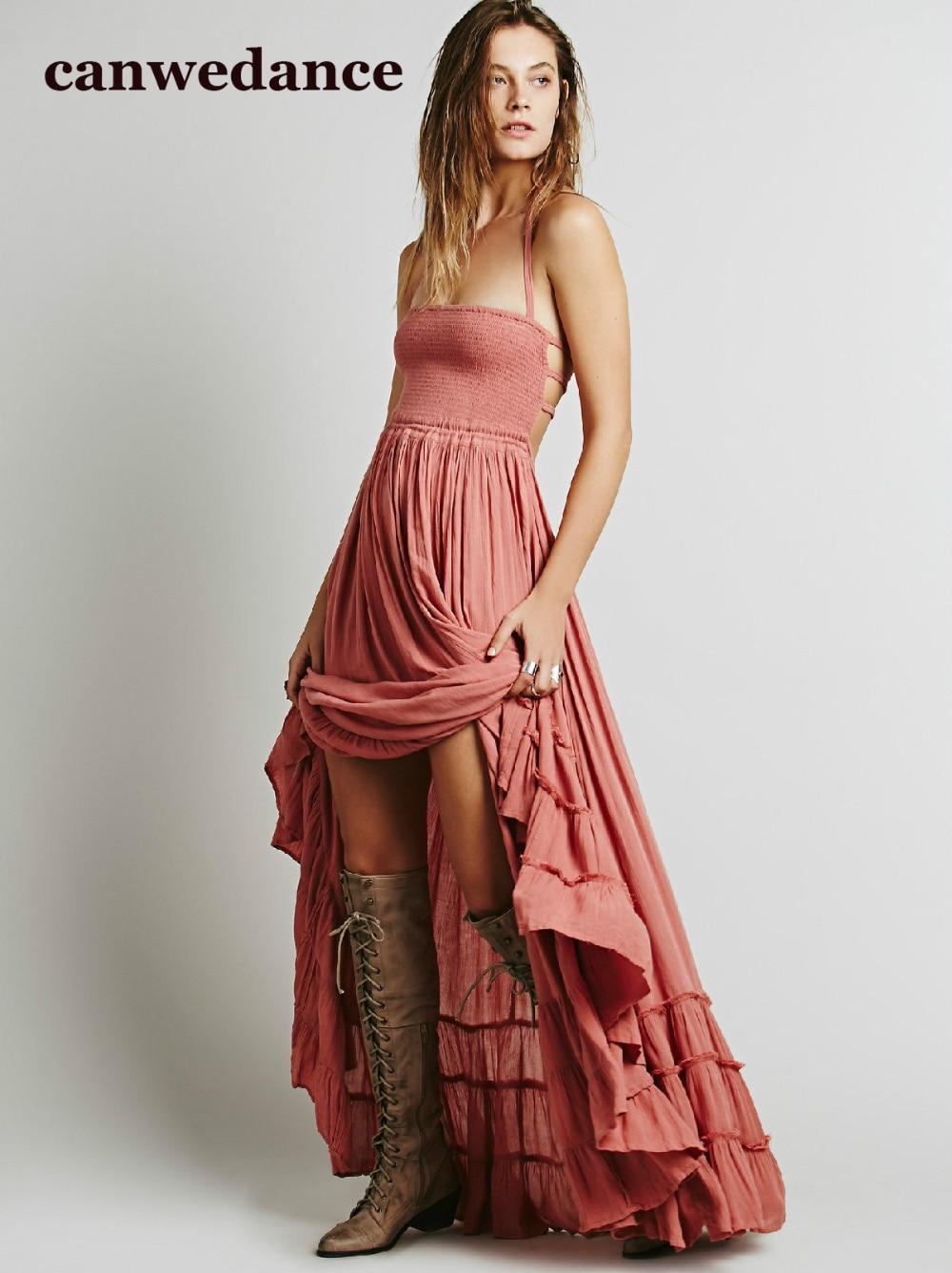 2018 Παραλία φόρεμα σέξι φορέματα boho μποέμ καυκάσιος διακοπές καλοκαίρι μακρύς backless βαμβάκι γυναίκες κόμμα hippie chic vestidos mujer