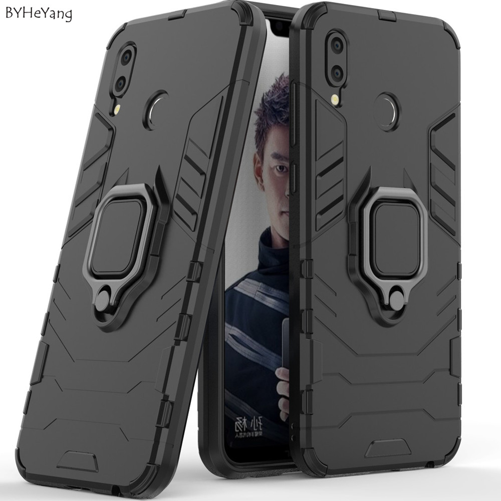 BYHeYang For Huawei Honor Play Case Car Holder Stand Magnetic Bracket Cover Ring Holder Bumper Back Cover For On Honor Play Skin