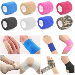 Image 2 - 3 шт./лот, цветная самоклеящаяся лента для поддержки мышц лодыжки и пальцев, эластичная медицинская повязка, марлевая перевязочная лента для спорта