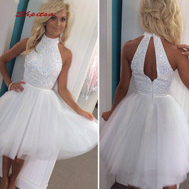 White Short Cocktail Dresses Party Graduation Women Prom Plus Size Coctail Mini Semi Formal Dresses