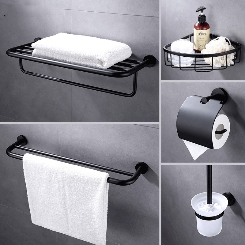 все цены на 5-Piece Bathroom Hardware Set Towel Hook Towel Bar Toilet Paper Holder Toilet brush bathroom basket, Stainless Steel , Black
