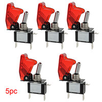 New 5pcs 50000 Cycles 12V 20A Car Truck Boat Red Cover LED Push Button Rocker Toggle