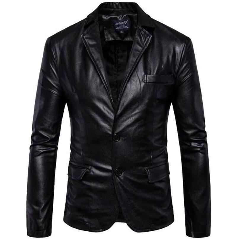 New Motorcycle Jacket Fashion PU Moto Leather Jackets Mens Faux Jacket Slim Fit Coats Moto Skull