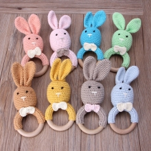 Детский кролик грызунок в форме уха деревянный Прорезыватель кольцо новорожденный сенсорный игрушка подарок для душа