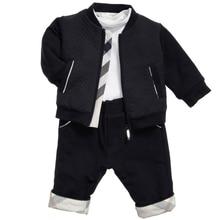 Весна осень повседневная мода мальчик установить шею кардиган дети куртки хлопка Футболку и брюки детей спортивный костюм