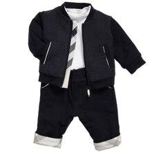 Spring autumn casual fashion baby boy set round neck cardigan children jacket cotton T shirt and