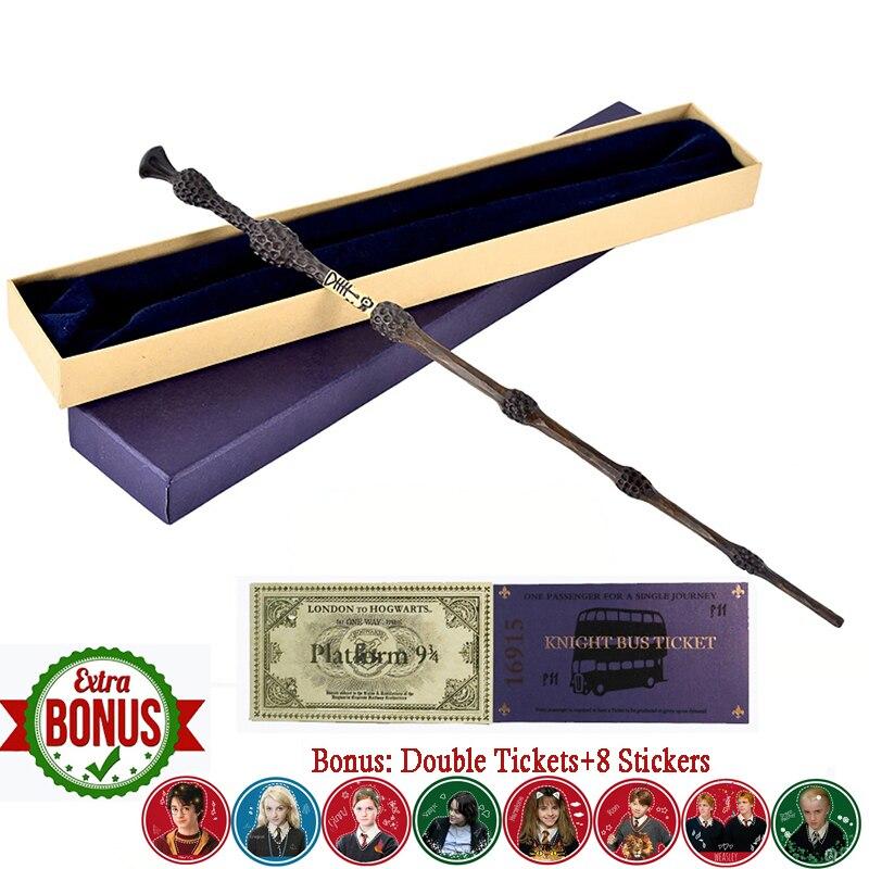 35cm Metal core oleiros Severus Snape varinha mágica Hermione Dumbledore Voldemort HP Vara Brinquedos Luna Ron Varinha Mágica Com Caixa de Presente