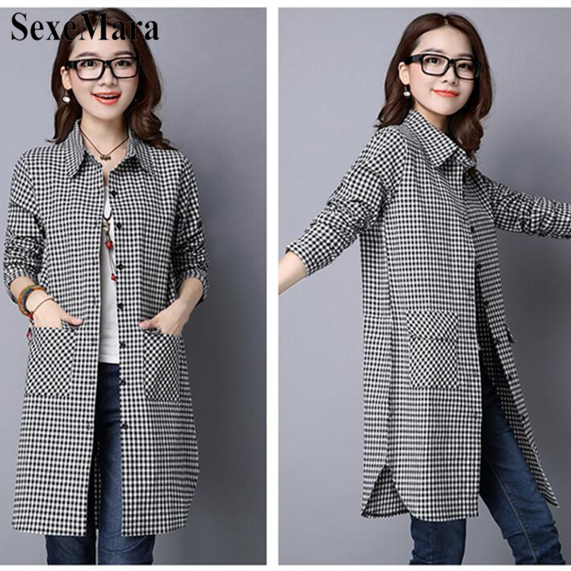 SexeMara Korean Version Of Large Size Lapel Cotton And Black And White Plaid Long Loose Shirt Female Blusas Mujer De Moda 2019 (3)