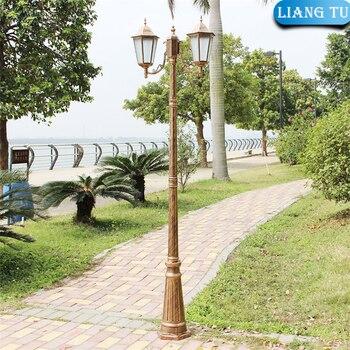 כפול זרועות נוף אורות חיצוני בציר גן רחוב אור Led גבוהה מוט גן עמיד למים שער מנורה גבוהה מוט מנורת
