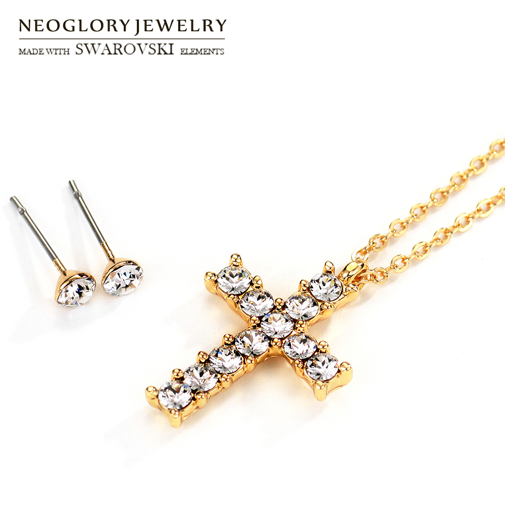 Neoglory Crystal Jewelry Set Classic Cross Stainless Post For Jesus  Necklace   Earrings Embellished With Crystals From Swarovski cbd90776e581