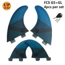 Surf fins G5+GL FCS Fins with key Honeycomb Fibreglass Green Black Red Blue Quilhas G5 GL upsurf logo