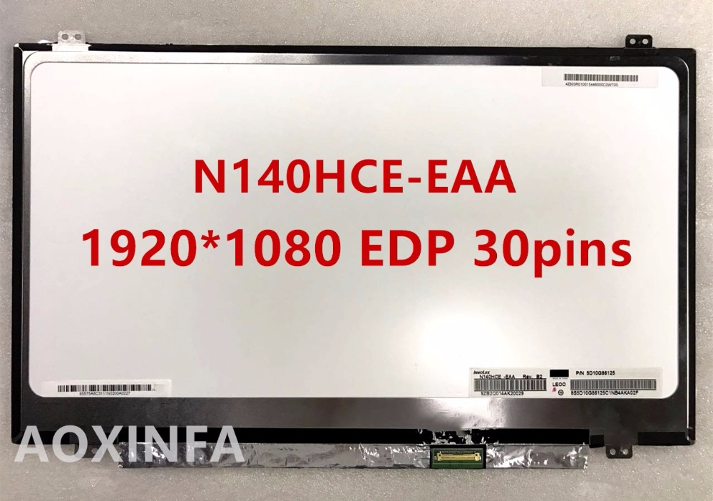 Free Shipping LP140WF3-SPL1 LP140WF3-SPD1 LP140WF1-SPB1 N140HCE-EAA N140HGE-EAB Laptop Lcd Screen 1920*1080 EDP 30pin