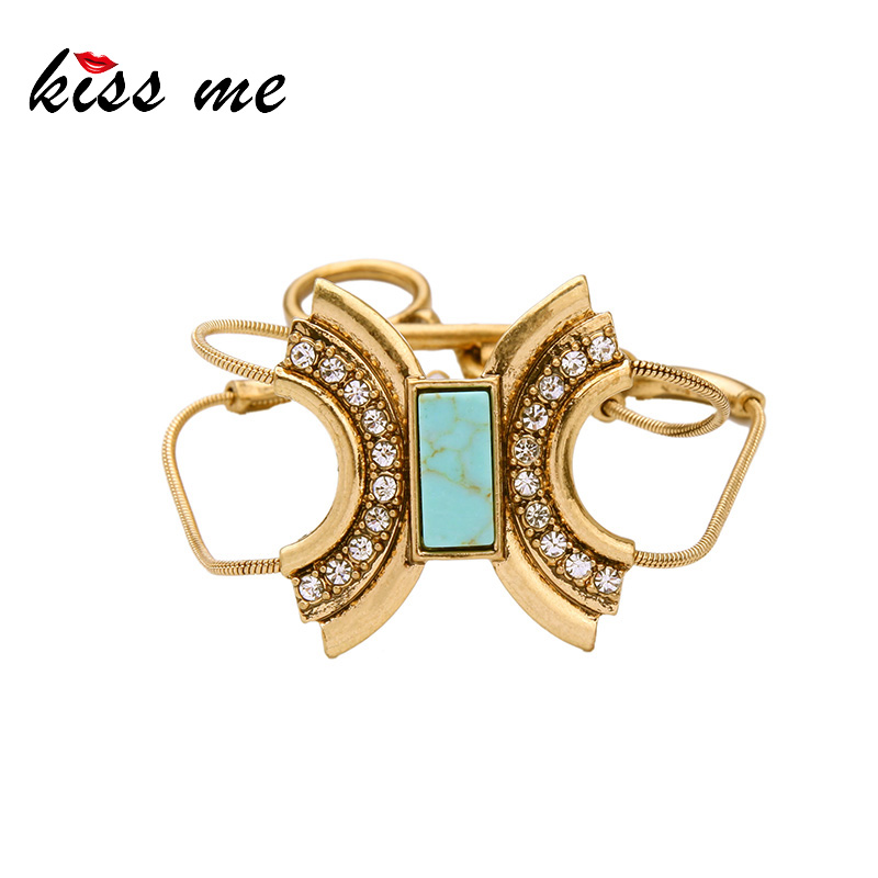 KISS ME Charm Bracelet Alloy Geometric Natural Stone Jewelry 2016 New Fashion Bracelets for Women