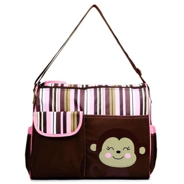 Women Giraffe Monkey Large Mummy Baby Diaper Ny Changing Clean Zip Crossbody Shoulder Tote Handbag Messenger