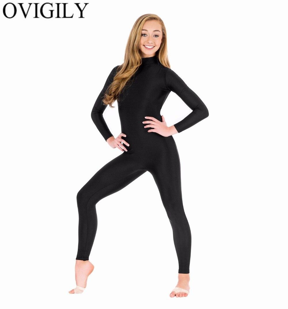 OVIGILY Spandex Turtleneck Long Sleeve Footless Unitards For Womens Nylon One Piece Black Dance Unitard Bodysuits Zentai Suits