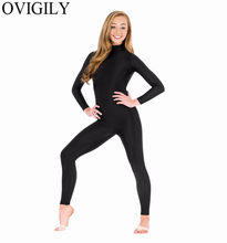 OVIGILY Spandex Turtleneck Lengan Panjang Tanpa Kaki Unitards Womens Nylon One Piece Tari Hitam Bodysuits Unitard Zentai Suits(China)